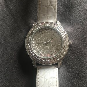 Peugeot Ladies White crystallized watch